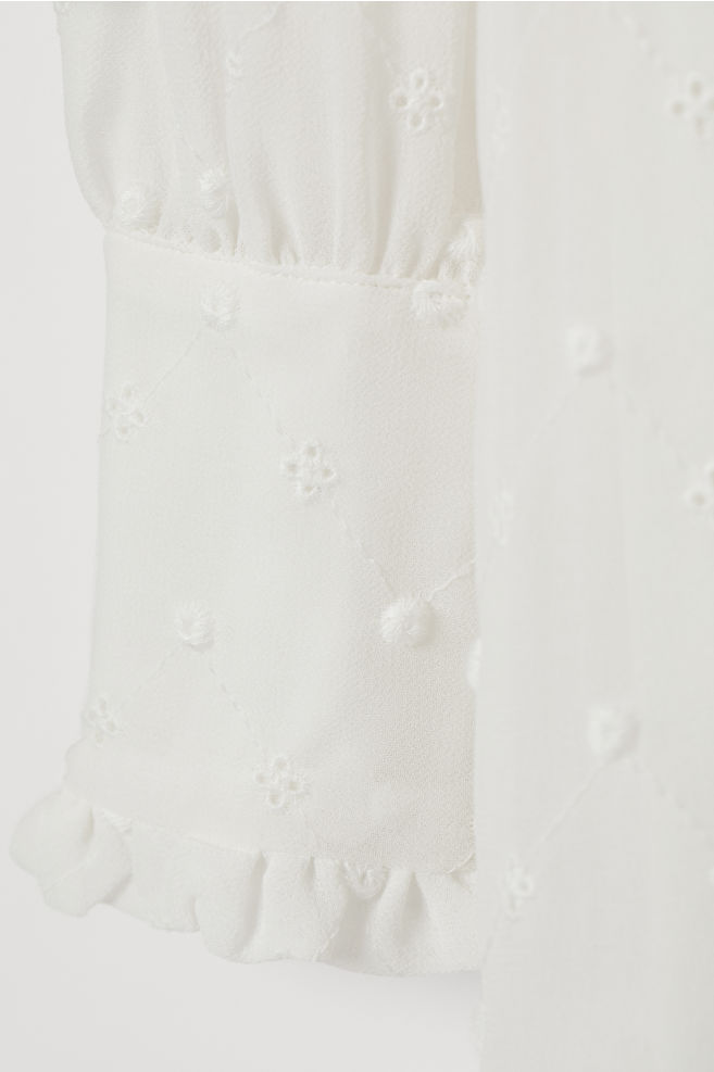 9183acb69923d ... Embroidered Dress - White - Ladies | H&M ...