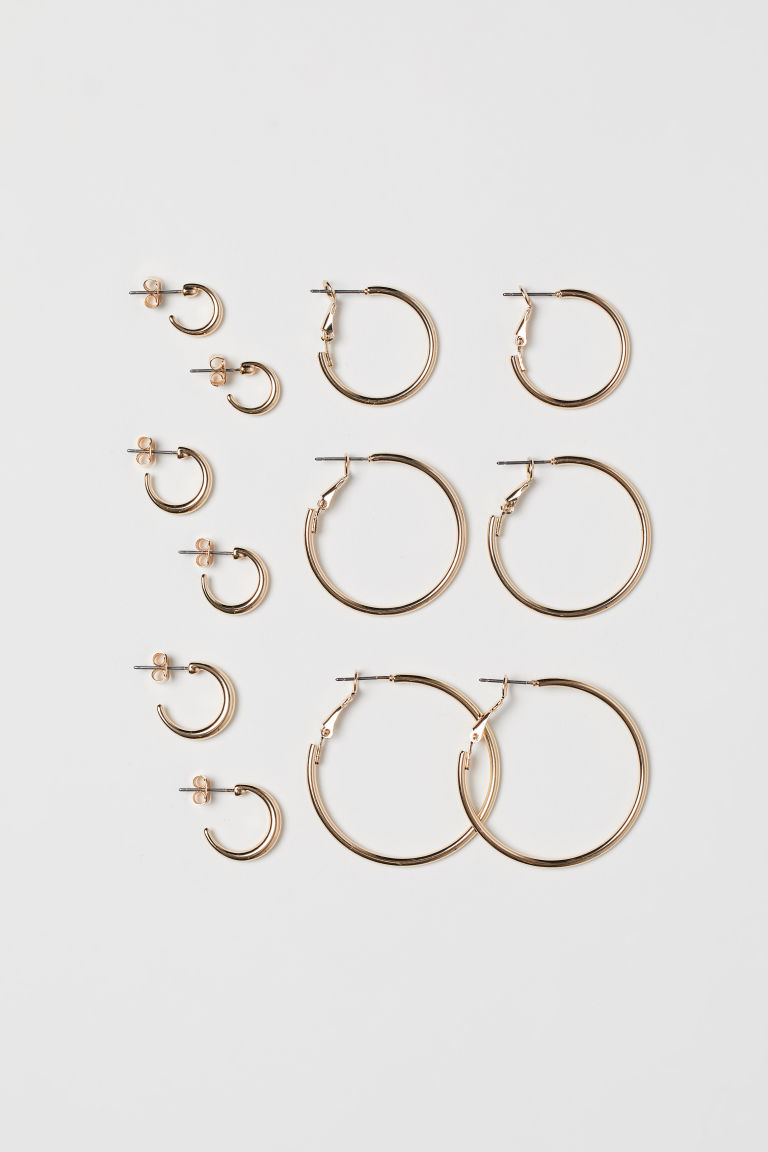 6 pairs hoop earrings - Gold-coloured - Ladies | H&M