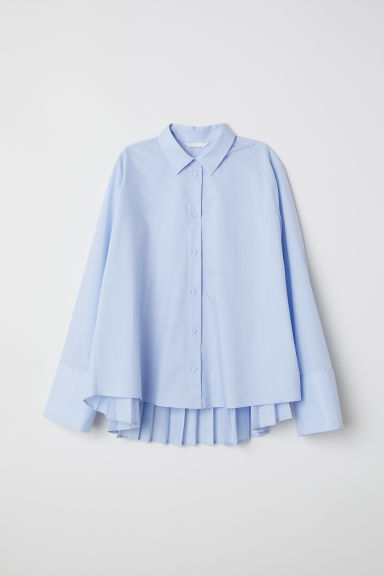Pleated shirt - Light blue - Ladies | H&M CN
