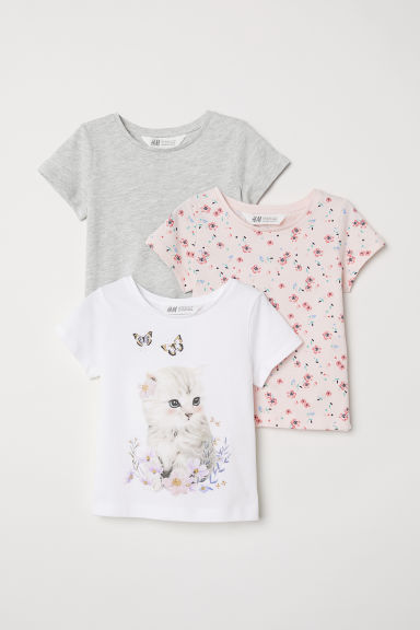 3-pack jersey tops - White/Cat - Kids | H&M CN