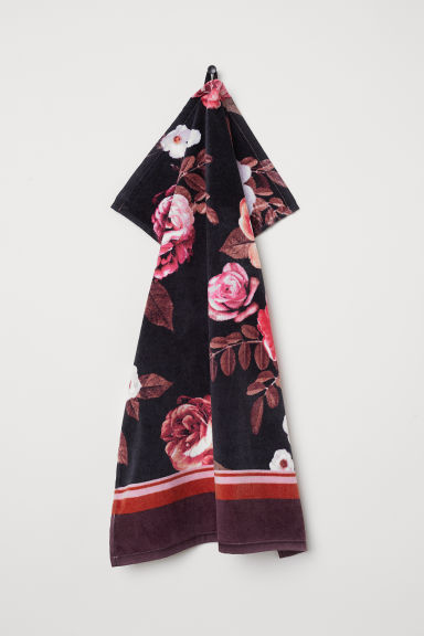 Cotton hand towel - Black/Roses - Home All | H&M CN