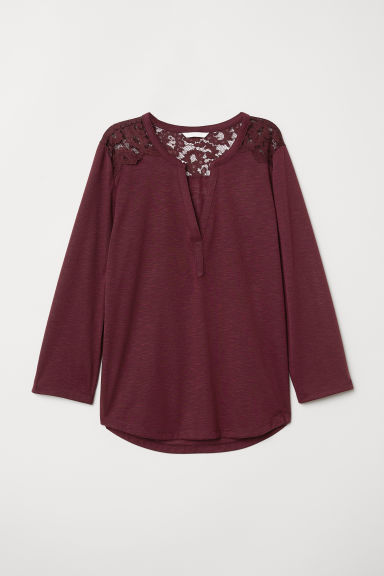 Jersey top with a lace yoke - Burgundy - Ladies | H&M