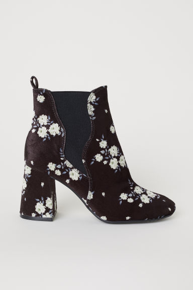 Ankle boots with elastic gores - Black/Floral - Ladies | H&M