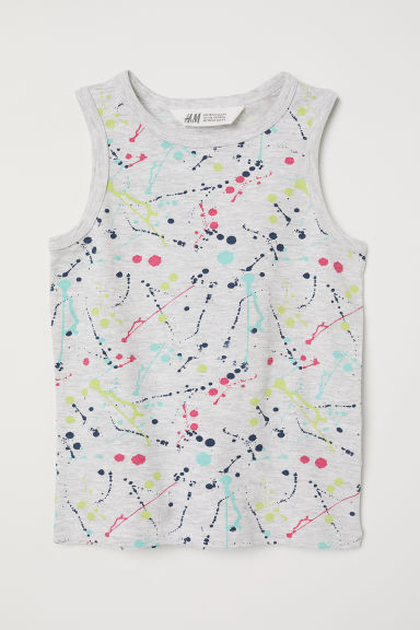 Vest top with a motif - Grey marl/Patterned - Kids | H&M CN
