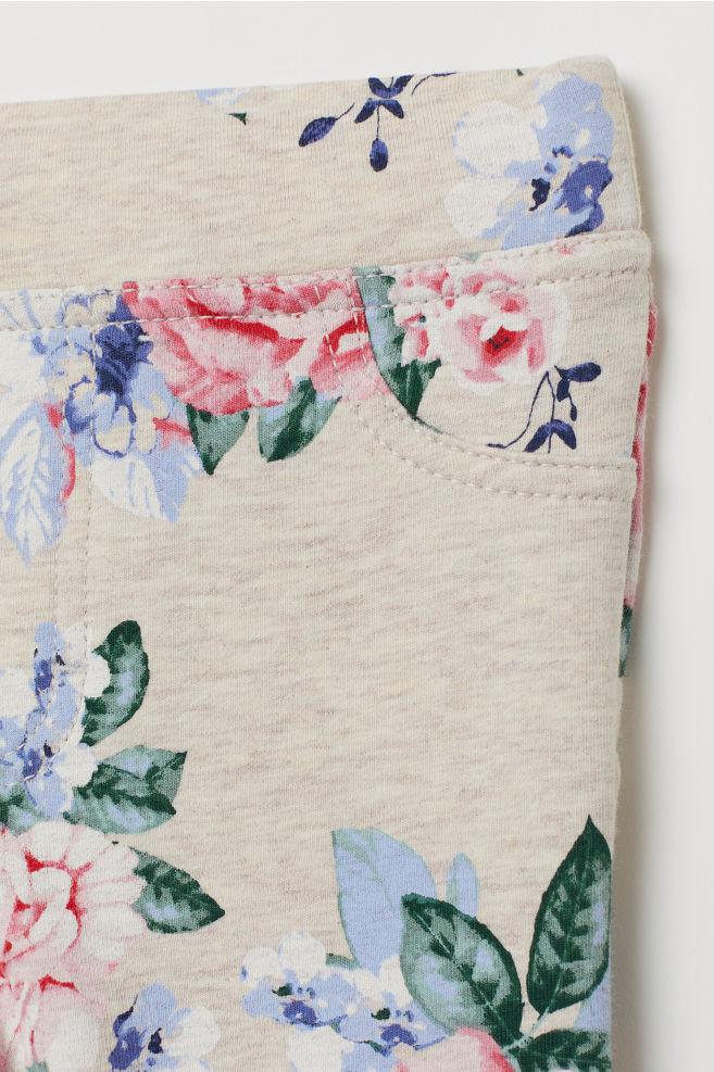 48bd490c1459e5 Thick Jersey Leggings - Light beige/flowers - Kids | H&M ...