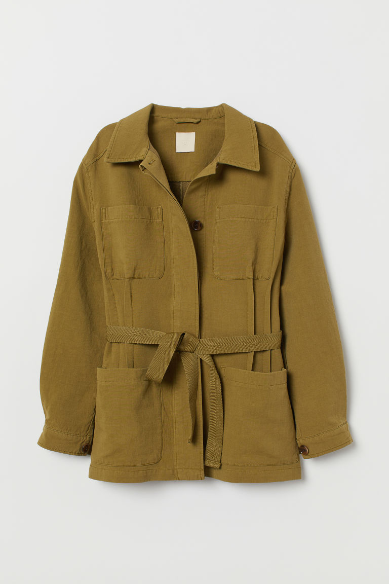 Twill jacket with a tie belt - Light khaki green - Ladies | H&M GB
