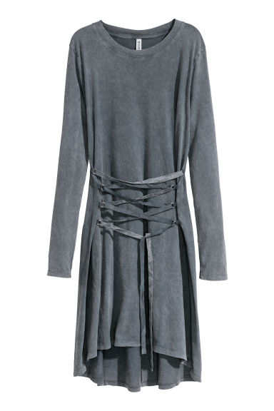 Dress with lacing - Grey - Ladies | H&M IE
