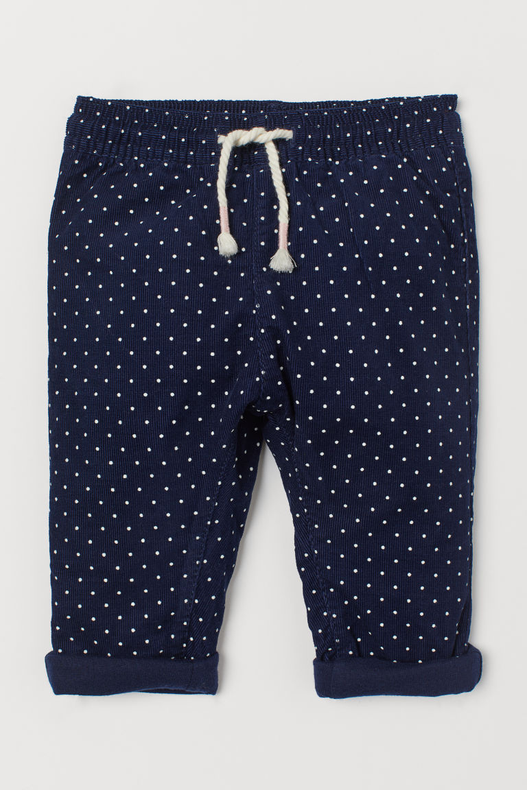 Lined corduroy trousers - Dark blue/Spotted - Kids | H&M IN