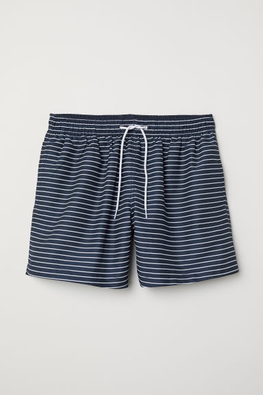 Swim shorts - Dark blue/White striped - Men | H&M CN