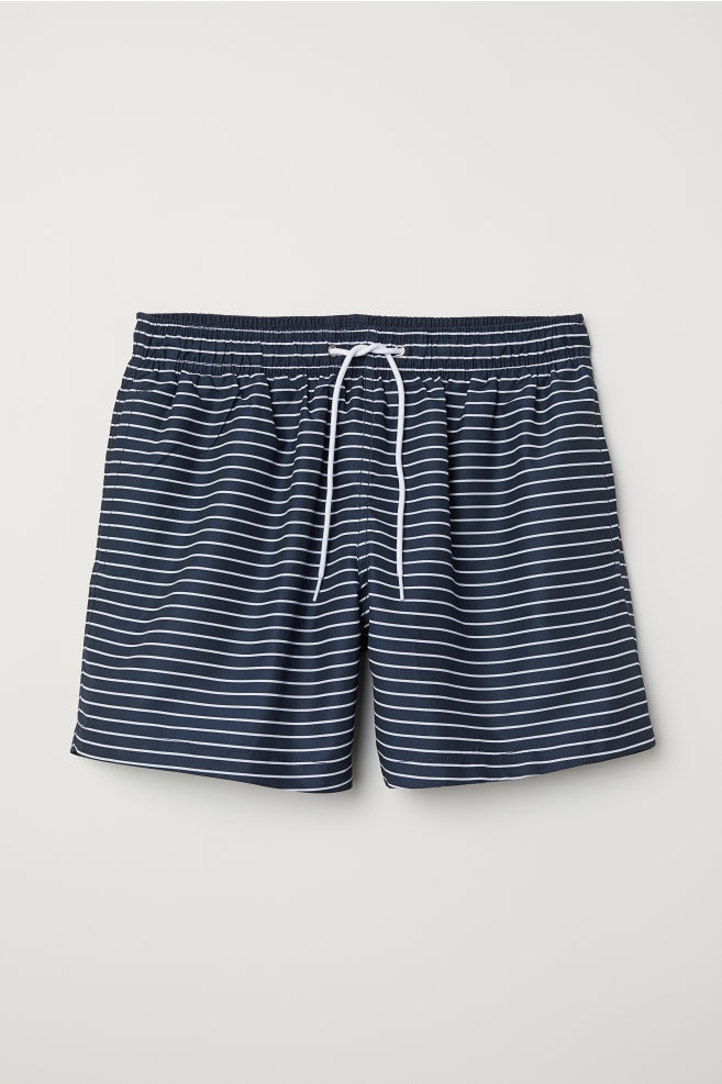 56ccd9d991 Swim Shorts - Dark blue/white striped - Men | H&M ...