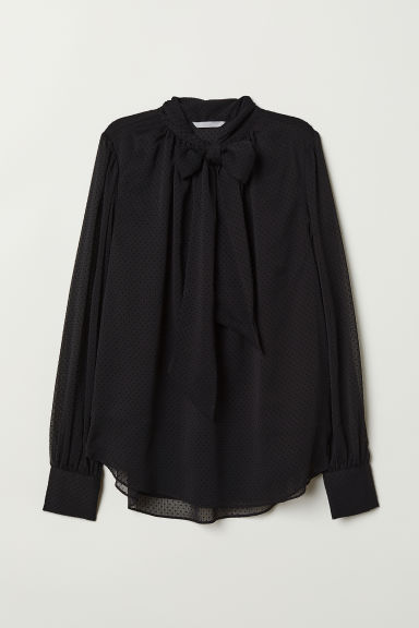 Spotted chiffon blouse - Black - Ladies | H&M CN