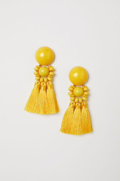 Large earrings - Yellow -  | H&M GB