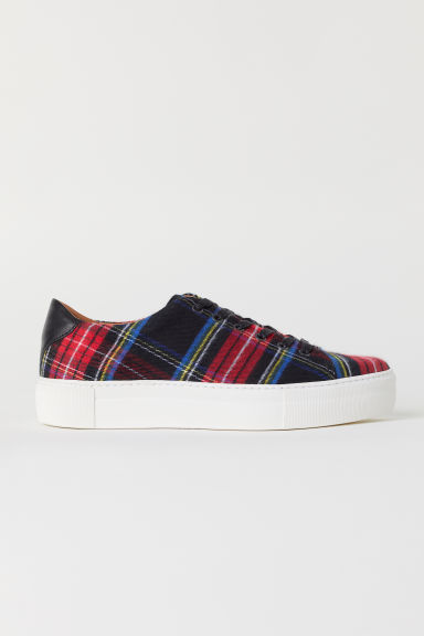 Checked trainers - Red/Checked -  | H&M
