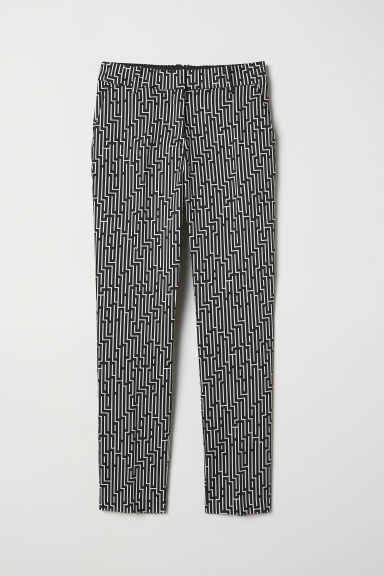 Patterned cigarette trousers - Black/White patterned - Ladies | H&M