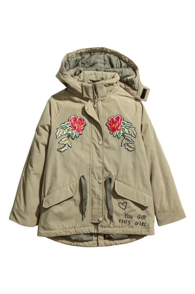 d0a16c15ed9b Padded Parka with Hood - Khaki green flowers - Kids