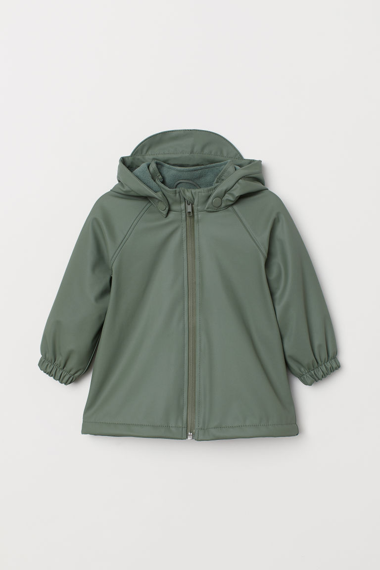 Fleece-lined rain jacket - Light khaki green -  | H&M