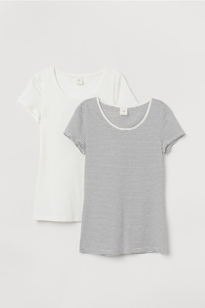e649ff5a37 ... 2-pack Short-sleeved Tops - White/black striped - Ladies | H&M