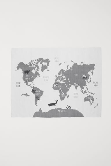 Print-motif cotton rug - White/Map - Home All | H&M CN