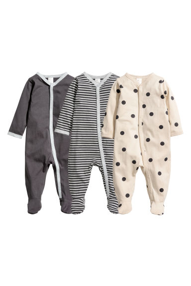 3-pack all-in-one pyjamas - Light beige/Spotted - Kids | H&M