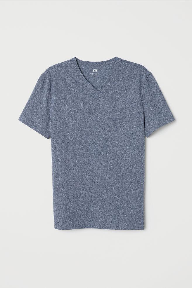 a2b38aa5de80 V-neck T-shirt Slim Fit - Blue marl - Men | H&M GB