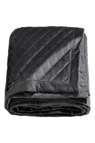 Quilted velvet bedspread - Dark grey - Home All | H&M IE