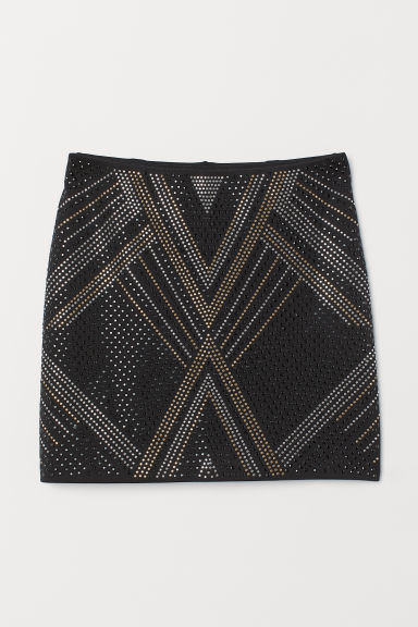 Skirt with studs - Black -  | H&M