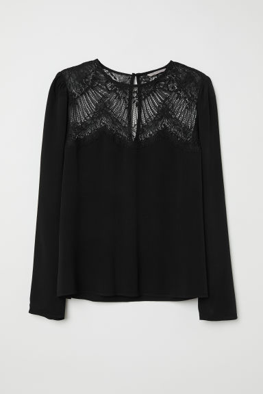 Blouse with a lace yoke - 黑色 -  | H&M CN