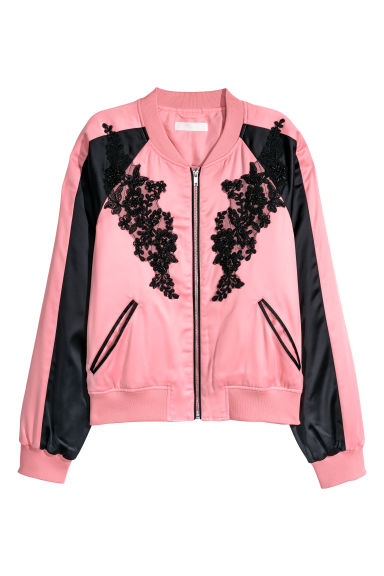 Bomber corto in satin - Rosa chiaro/nero - DONNA | H&M IT