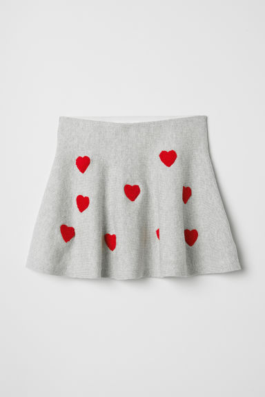 Fine-knit skirt - Light grey/Hearts - Kids | H&M