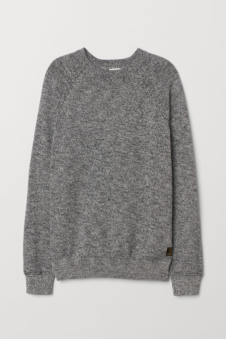 Fine-knit cotton jumper - Dark blue marl - Men | H&M CN