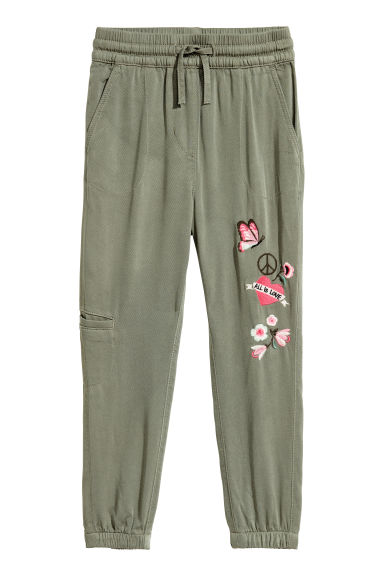 Pull-on trousers - Khaki green/Flowers - Kids | H&M CN