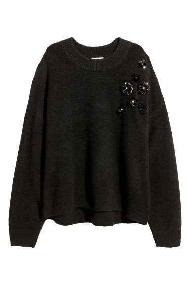 Knitted beaded jumper - Black/Sequins - Ladies | H&M