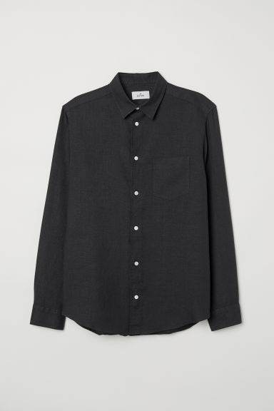 Linen shirt - Black - Men | H&M
