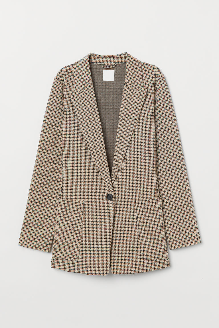 Jersey jacket - Beige/Dogtooth-patterned -  | H&M