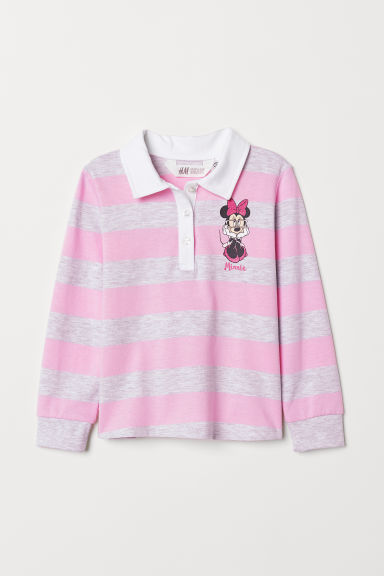 Striped rugby shirt - Pink/Striped - Kids | H&M CN