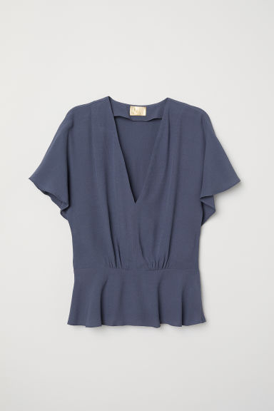 Crêpe top - Grey-blue - Ladies | H&M