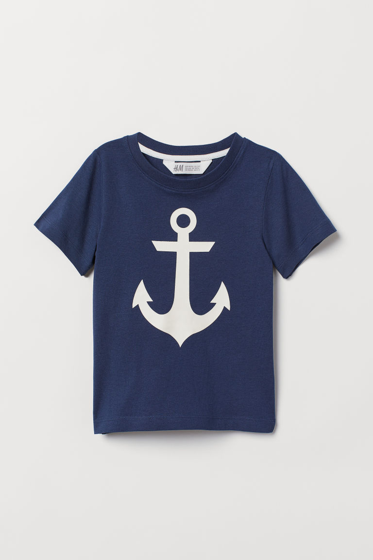 Printed T-shirt - Dark blue/Anchor -  | H&M IN