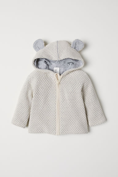 Textured-knit cotton cardigan - Natural white/Light grey - Kids | H&M CN