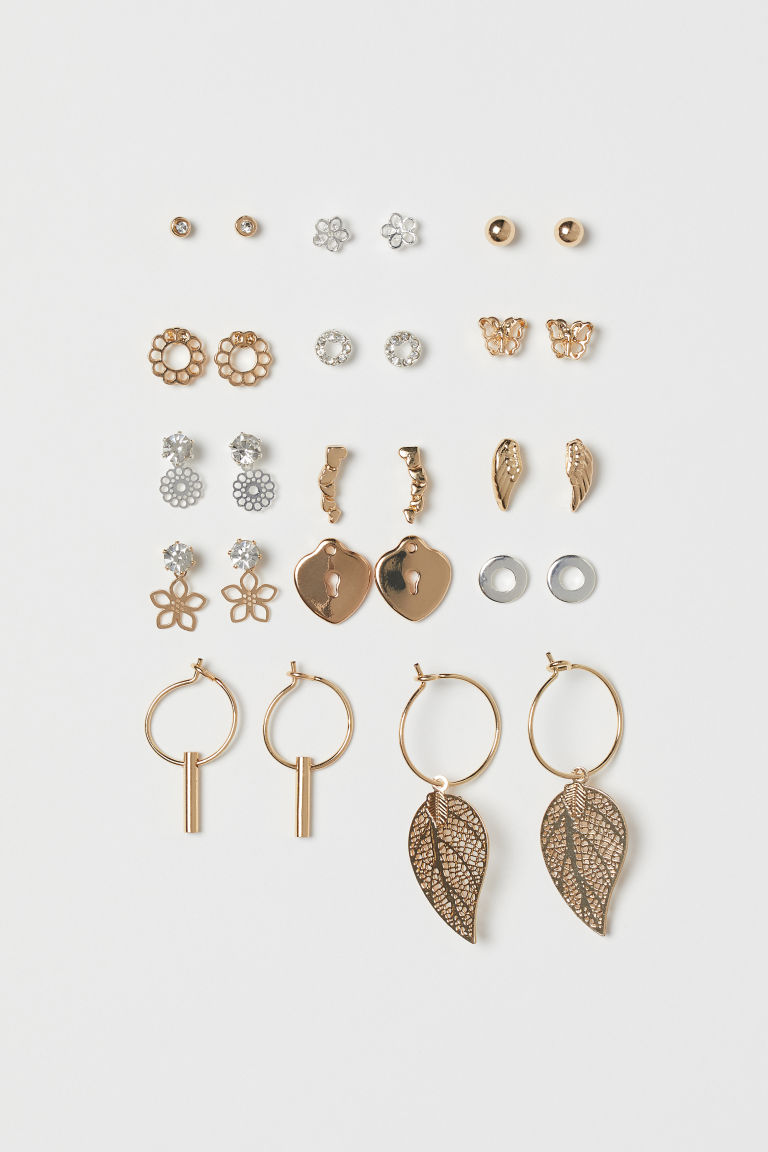 14 Pairs Earrings - Gold-colored/silver-colored - Ladies | H&M CA
