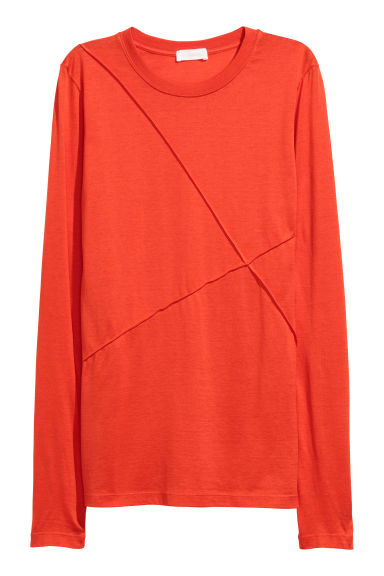 Silk-blend top - Bright red - Ladies | H&M CN