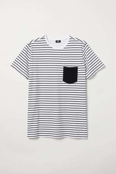 Cotton T-shirt - White/Black striped - Men | H&M