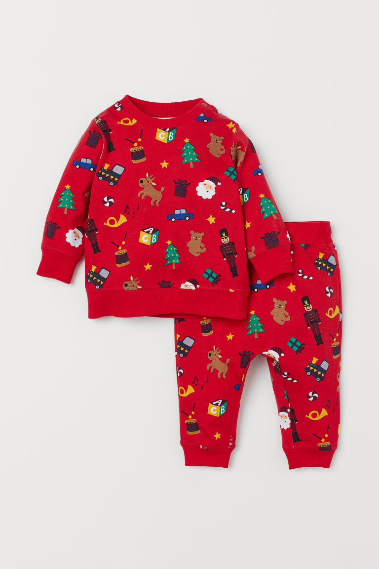 Cotton jersey top and trousers - Red/Patterned - Kids | H&M