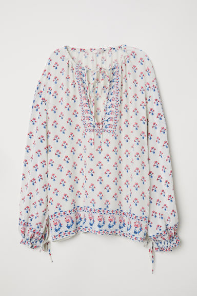 Wide blouse - Natural white/Floral - Ladies | H&M