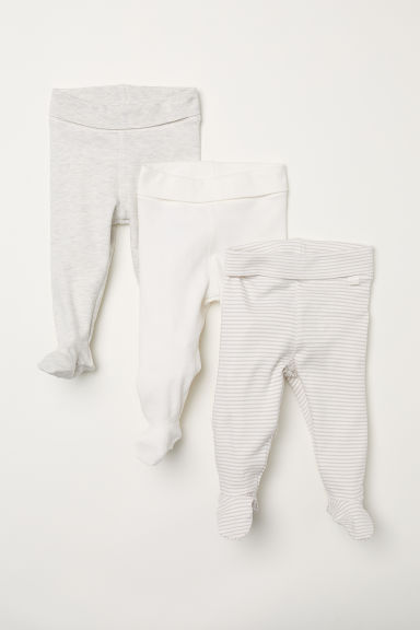 3-pack trousers with feet - Light beige/Striped -  | H&M