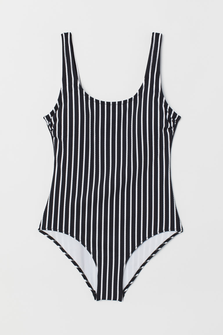 Swimsuit - Black/white striped - Ladies | H&M US