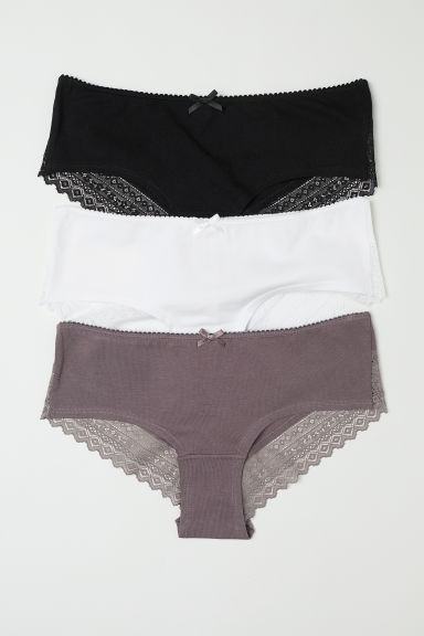 3-pack cotton hipster briefs - Black/Mole - Ladies | H&M CN