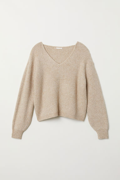 V-neck jumper - Light beige marl - Ladies | H&M