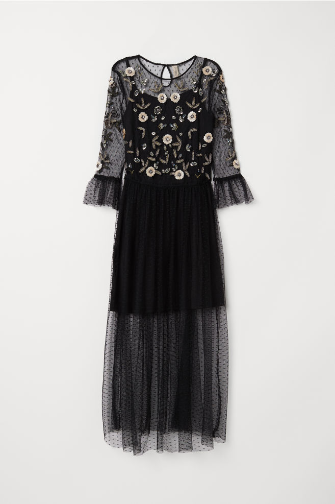 4deb58d65fe7e Mesh Dress with Embroidery - Black - | H&M ...