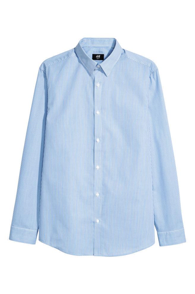 abd72a0e58 Easy-iron shirt Slim fit - Light blue/White striped - Men | H&M GB