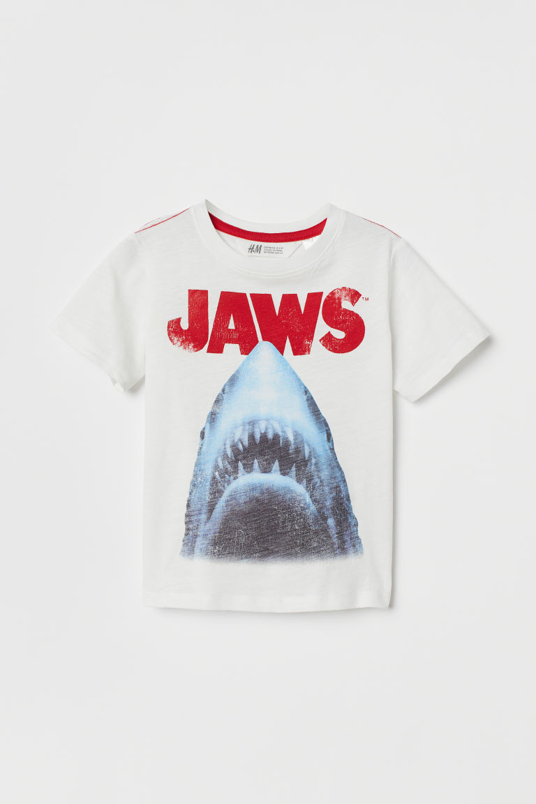 T-shirt with Printed Design - White/sharks - Kids | H&M US